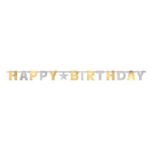 Birthday Accessories Silver & Gold Jointed Letter Banner
