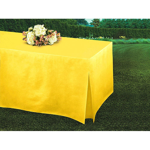 Yellow Flannel-Backed Vinyl Fitted Table Cover