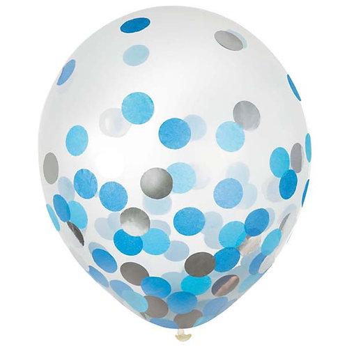 Blue & Silver Confetti 12in Latex Balloons 6ct