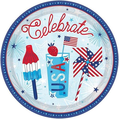 Celebrate USA 7in Plates 18ct