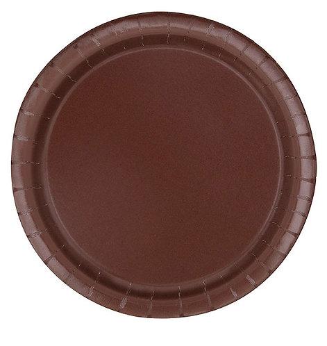 """Brown Round 9"""" Dinner Plates 16ct"""