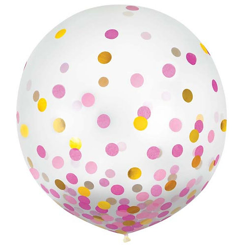 Pink & Gold Confetti 24in Latex Balloons 2ct