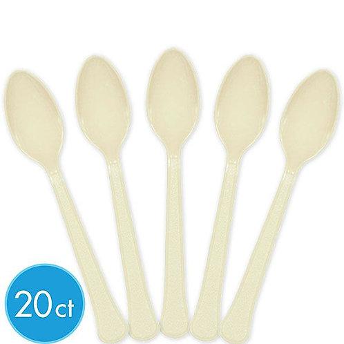 Vanilla Creme Plastic Spoons 20ct