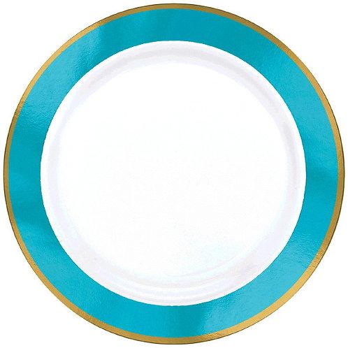 Caribbean Blue Border Premium 10in Plastic Plates 10ct