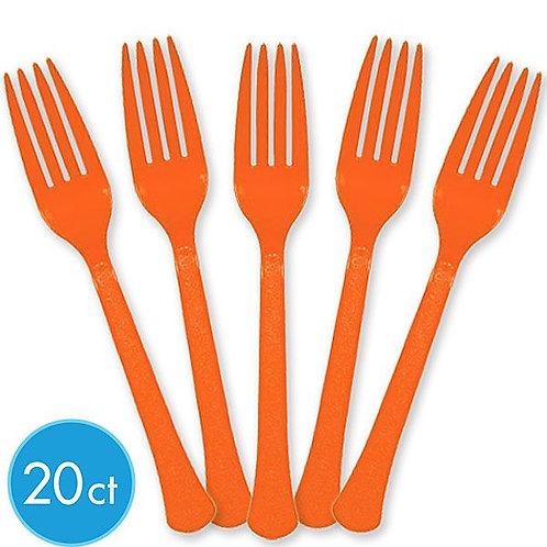 Orange Plastic Forks 20ct