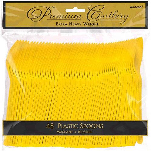 Yellow Plastic Spoons 48ct