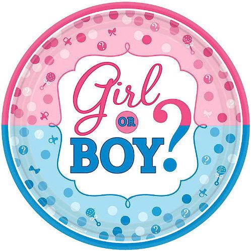 Girl or Boy? Dinner Plates 8ct