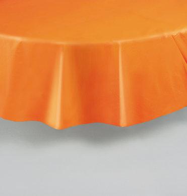 """Orange Round Plastic Table Cover 84"""""""