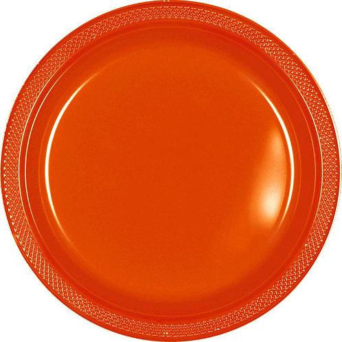 Orange 10in Plastic Plates 20ct