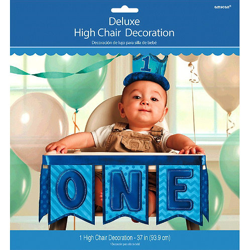 1st Birthday Deluxe High Chair Decoration - Blue