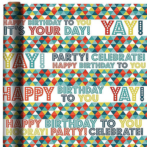 Birthday Triangles Printed Jumbo Gift Wrap 16ft x 30in