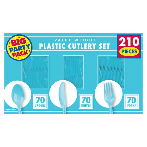 Caribbean Blue Value Cutlery Set 210ct