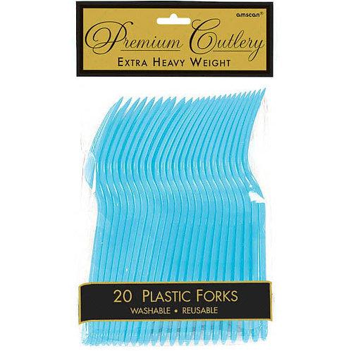 Caribbean Blue Plastic Forks 20ct