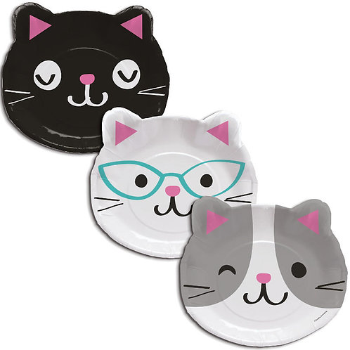 Purr-fect Party Shaped Lunch Plates 8ct