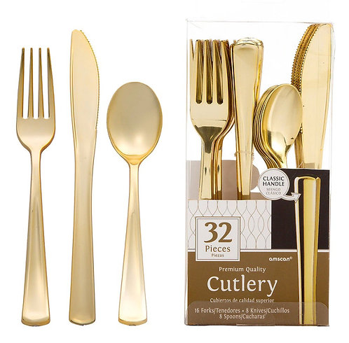 Gold Premium Plastic Cutlery Set 32ct