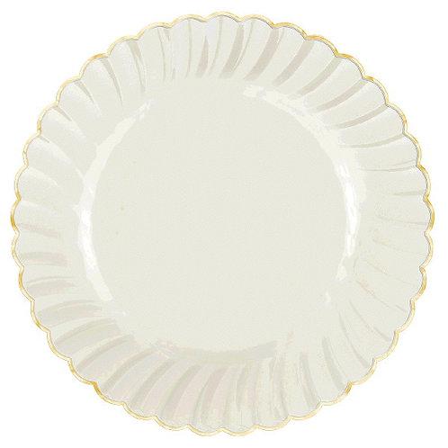 "Scalloped w/Gold Swirl, Premium Plastic Plates, 10 1/4"" - 10ct"