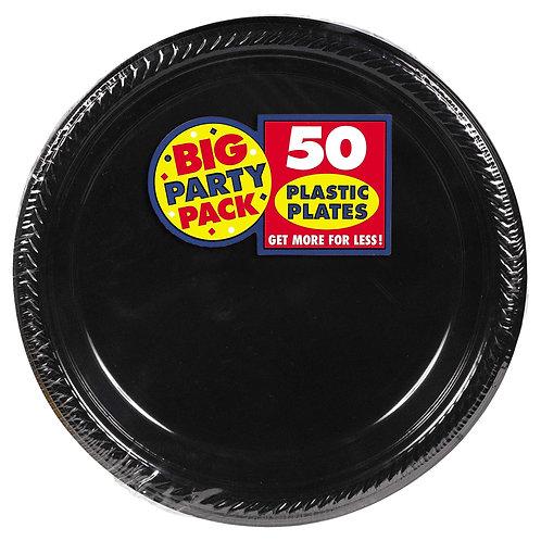 Black 10in Plastic Plates 50ct