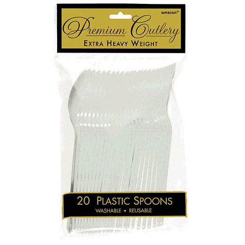 Silver Plastic Spoons 20ct