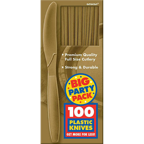 Gold Value Plastic Knives 100ct