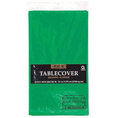 "Green Rectangular Plastic Table Cover, 54"" x 108"""