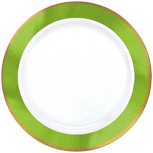 Kiwi Green Border Premium 7in Plastic Plates 10ct