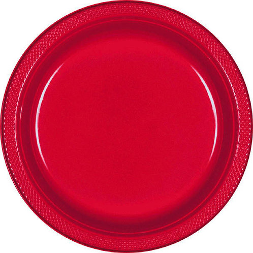 Red 7in Plastic Plates 20ct