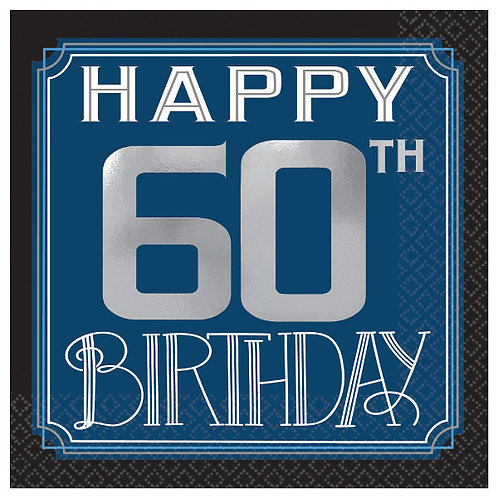 Happy Birthday Man Hot-Stamped Beverage Napkins 16ct - 60th
