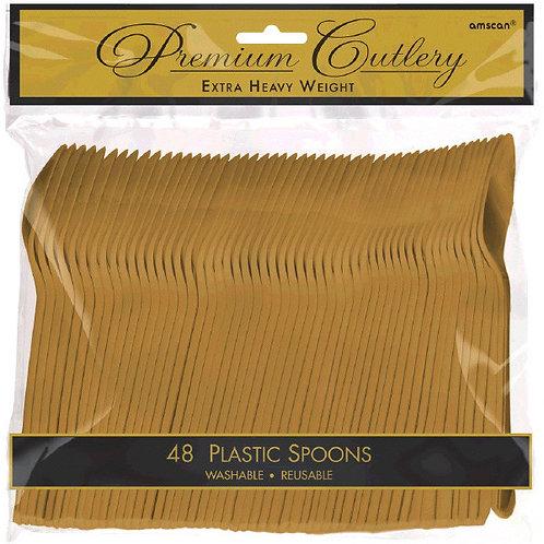 Gold Plastic Spoons 48ct
