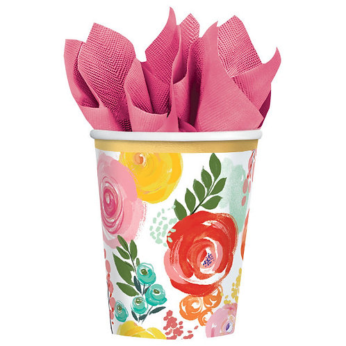 Bright Florals 12oz Paper Cups - 8ct