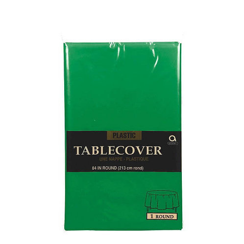 """Green Round Plastic Table Cover, 84"""""""