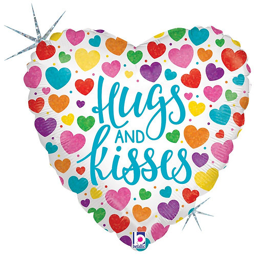 #511 Hugs and Kisses 18in Mylar Balloon