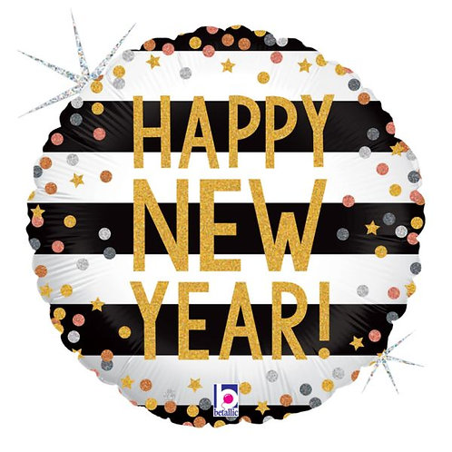 New Year Confetti Holographic 18in Mylar Balloon