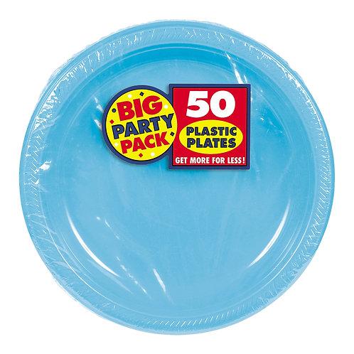 Caribbean Blue 7in Plastic Plates 50ct