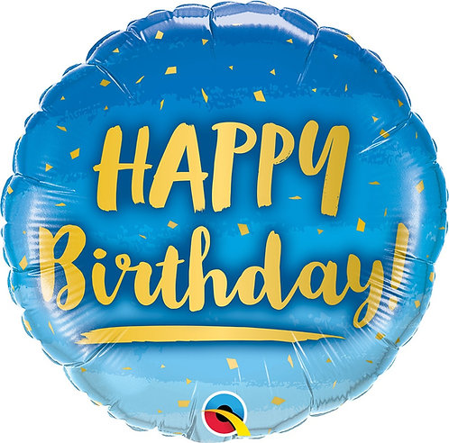 #336 Birthday Gold & Blue 18in Balloon