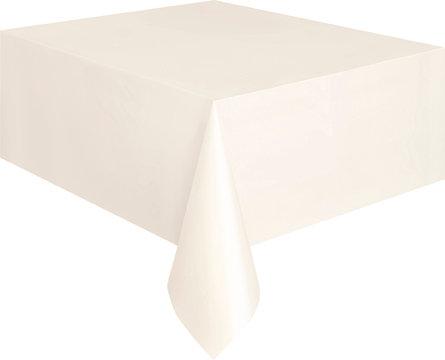 "Ivory Rectangular Plastic Table Cover 54""x108"""