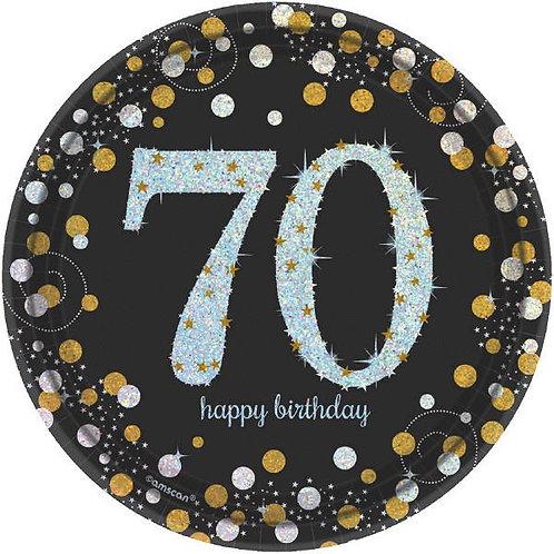 Sparkling Celebration 70 Round Prismatic Dessert Plates 8ct