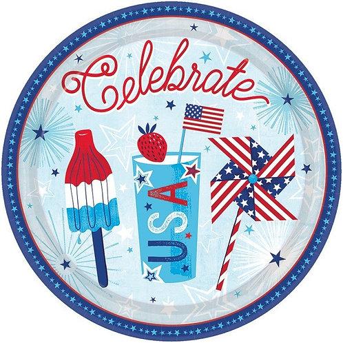 Celebrate USA 10in Plates 18ct