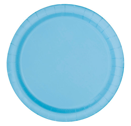 "Powder Blue Round 9"" Dinner Plates 16ct"