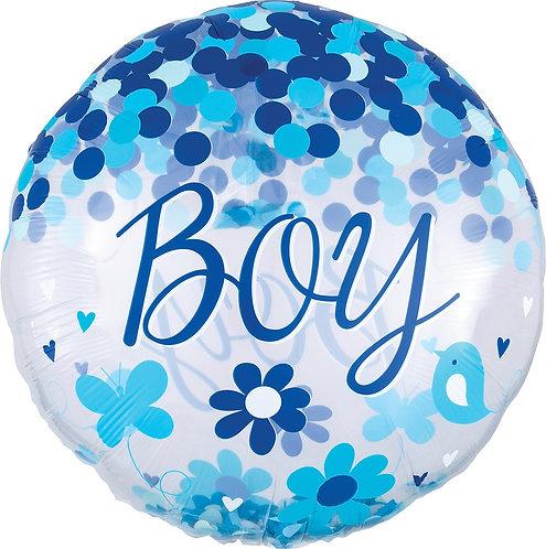 #181 Confetti Baby Boy 28in Mylar Balloon