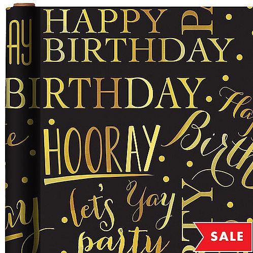 Elegant Birthday Printed Jumbo Gift Wrap 16ft x 30in