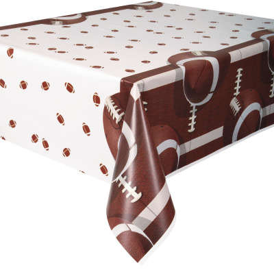 """Football Party Rectangular Plastic Table Cover 54""""x84"""""""