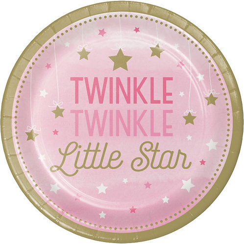 One Little Star Girl Lunch Plates 8ct
