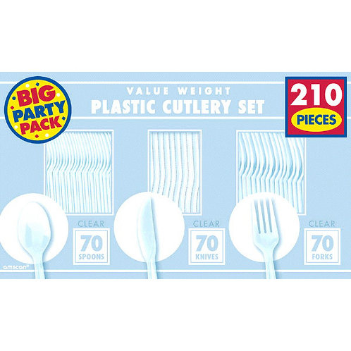 Clear Value Cutlery Set 210ct