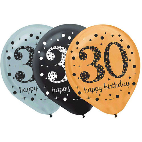 Sparkling Celebration 30 Latex Balloons 15ct
