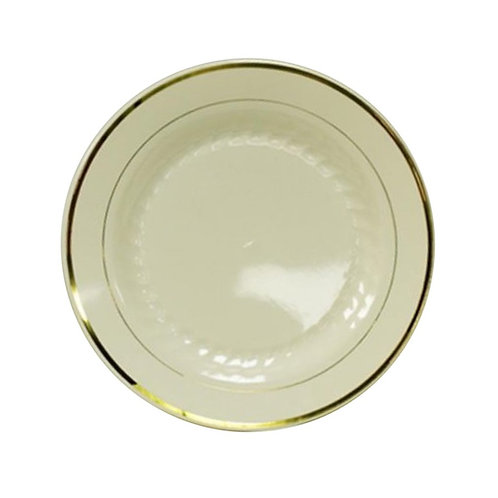 Regal Beige 7in Plastic Plates With Gold Trim 12ct