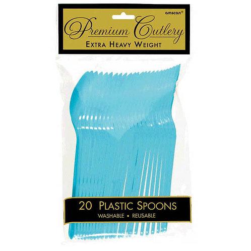 Caribbean Blue Plastic Spoons 20ct