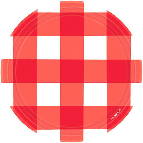 Red Gingham 7in Plates 8ct