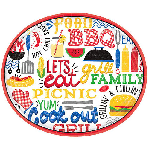 BBQ Picnic Oval 12in Plates 18ct