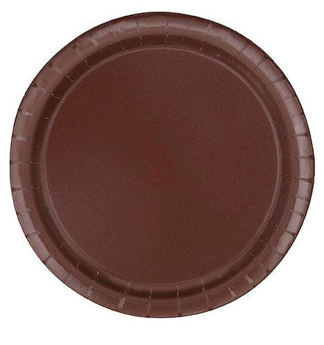 """Brown Round 7"""" Dessert Plates 20ct"""