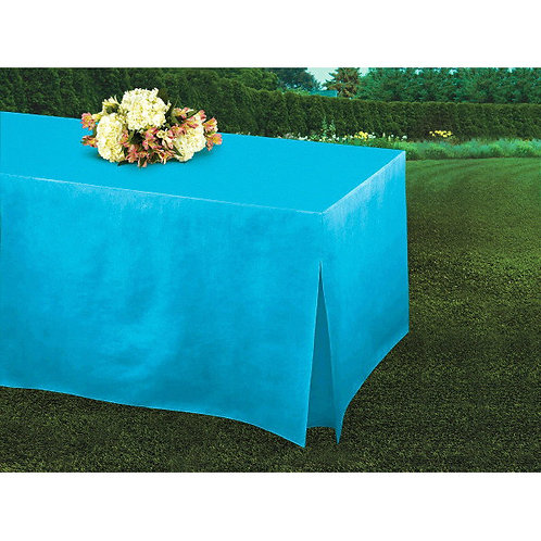 Caribbean Blue Flannel-Backed Vinyl Fitted Table Cover